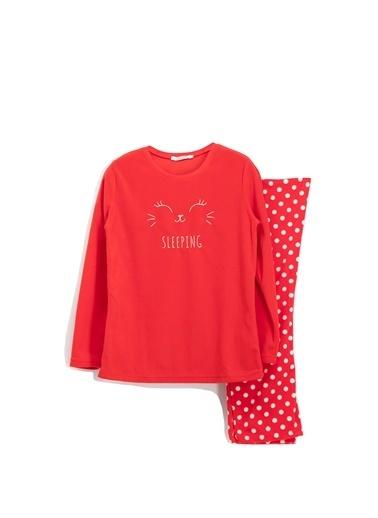 Roly Poly Rolypoly Sleeping Bunny Polar Kadın Pijama Takımı Fuşya Kırmızı